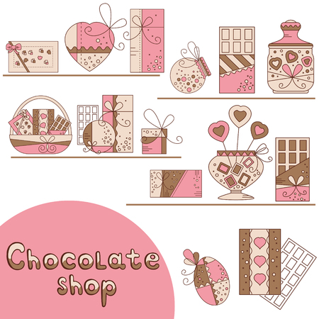 brawn: Chocolate presents and gift boxes in chocolate shop. Design element for postcard, invitation, banner made in modern line style vector.