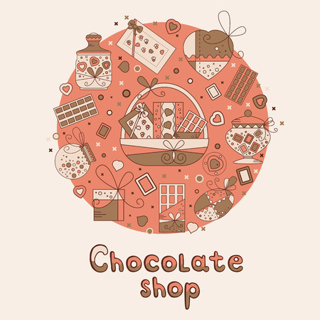 brawn: Chocolate presents and gift boxes arranged in a circle. Illustration