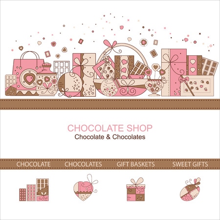 chocolate box: Web page design template for chocolate shop
