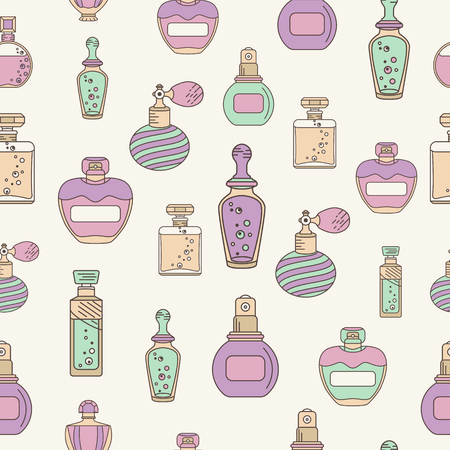 perfume bottle: Perfume seamless with outline perfume bottle icons. Can use for design wrapping paper packaging, scrap-booking, sites and perfume shops