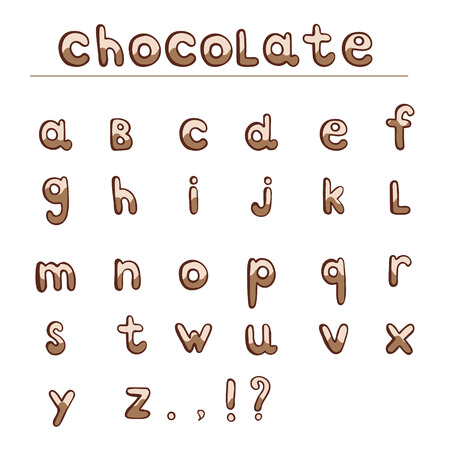 lower case: Chocolate hand draw alphabet. ABC for your projects and design. Lower case. Isolated on white