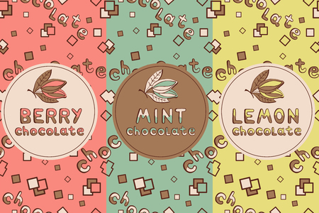 chocolate mint: Set of chocolate seamless, for flavors - banana, lemon, strawberry, mint. It can be used for packaging, scrap booking, fills, fabrics