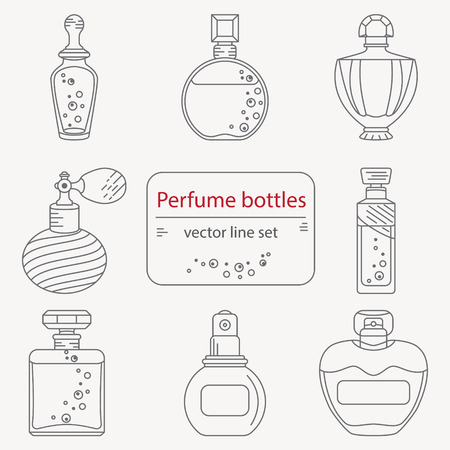 perfume bottle: Set of outline perfume bottle icons. Can use for design wrapping paper packaging, scrap-booking, sites and perfume shops