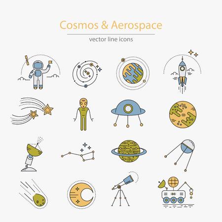 kosmos: Set von Kosmos und der Luft- und Raumfahrt-Ikonen gemacht in der modernen Linienstil Illustration