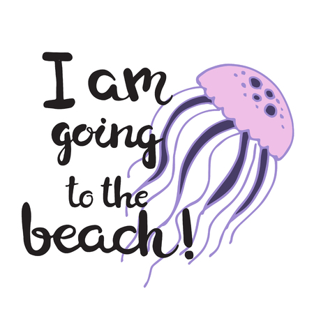 arthropod: Hand drawn lettering card - I am going to the beach! Illustration