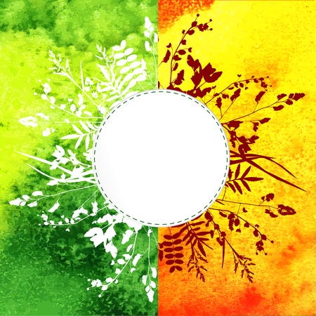 Summer leaves on watercolor background Vector
