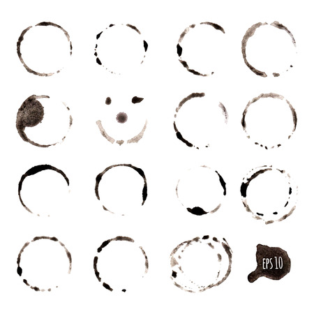 Ink blot collection on white background Vector