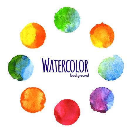 다채로운 서클 벡터 페인트 수채화 일러스트