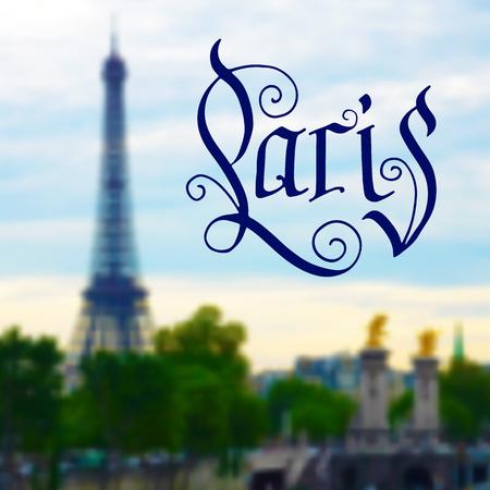 Paris hand drawn design on blurred photo background Vector