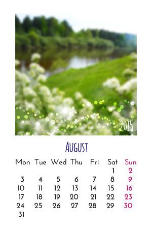 august calendar: Agosto del calendario 2015 plantilla de dise�o