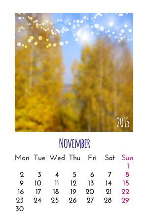 november calendar: November Calendar 2015 design template Illustration