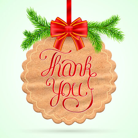 Christmas Thank you card with red ribbon Vector