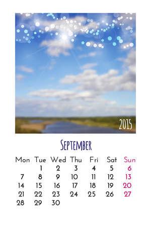 calendario septiembre: Calendario septiembre 2015 plantilla de dise�o