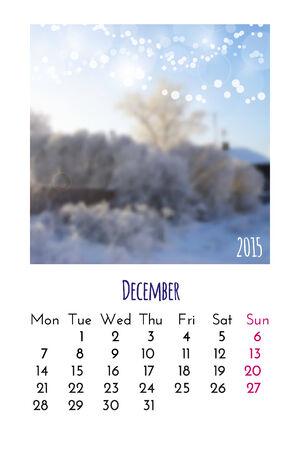 december calendar: Calendario di dicembre 2015 modello di progettazione