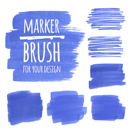 Vector textured design marker banners, brush, lines and stains