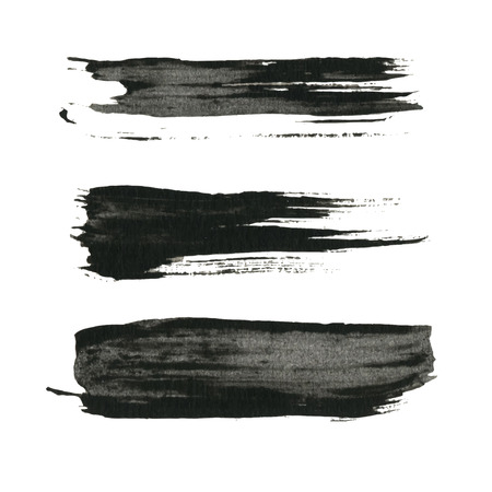 ink stain: Grunge paint black ink brush background
