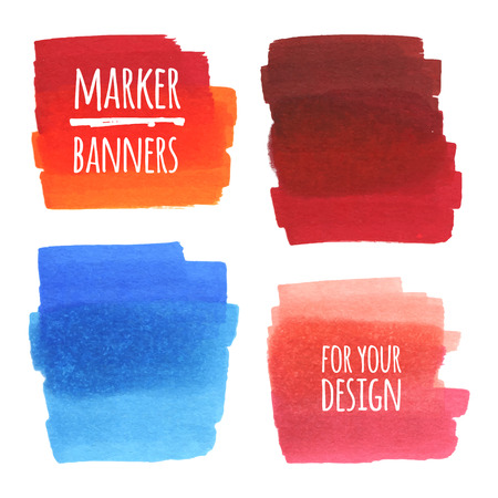 Vector textured design marker banners, lines and stains