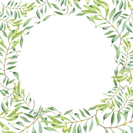 白い背景の上の緑水彩オリーブ ブランチ フレーム