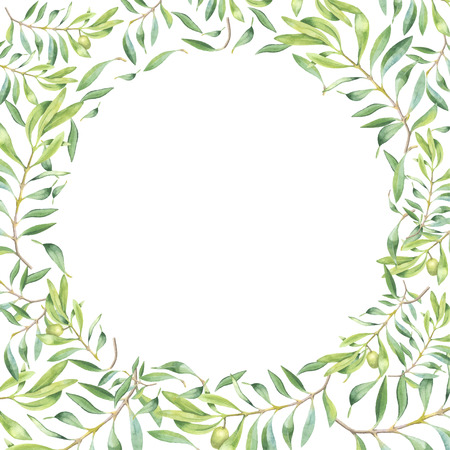 Green watercolor olive branch frame on white background Illustration
