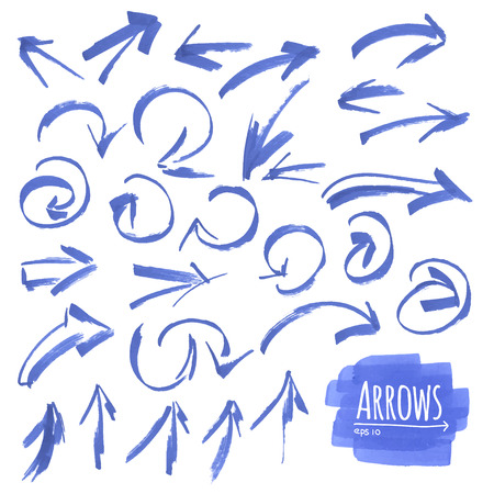 Hand drawn isolated vector arrow collection