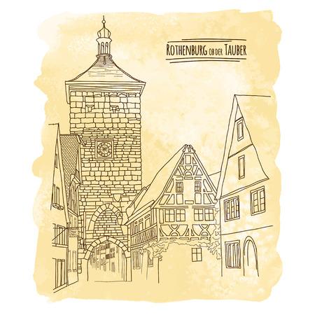 Vector city sketching on vintage watercolor background. Rothenburg ob der Tauber