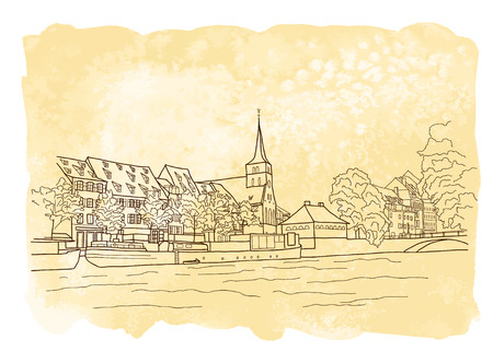 strasbourg: Vector city sketching on vintage watercolor background. Strasbourg