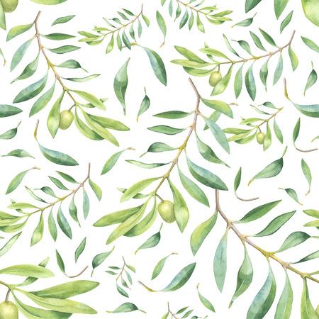 hoja de olivo: Acuarela verde rama de olivo patrón transparente