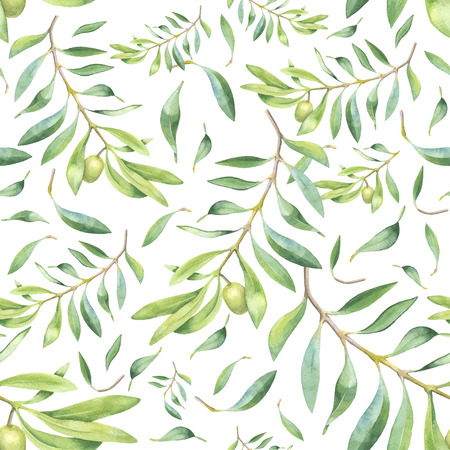 Green watercolor olive branch seamless pattern