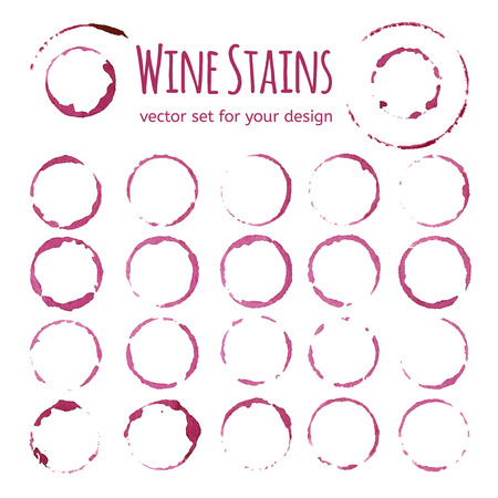glass cup: Red wine stains on white background. Vector set for your design
