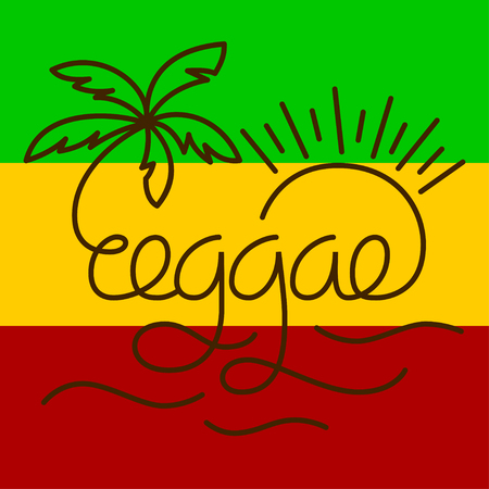 reggae: Modern lettering poster in reggae style. Vector isolated typography for your design. Illustration