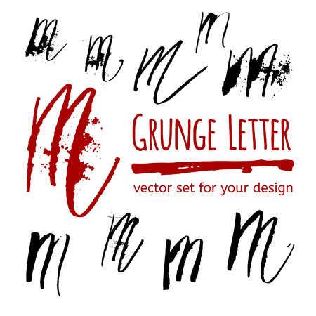 letter art: Expressive calligraphy ink letter with blots and splashes. Vector set for your design Illustration