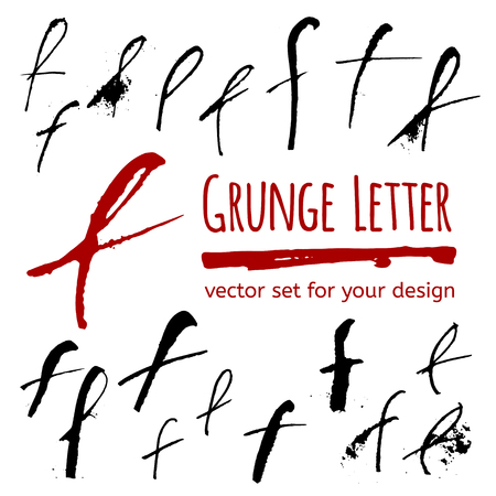 letter f: Expressive calligraphy ink letter with blots and splashes. Vector set for your design Illustration