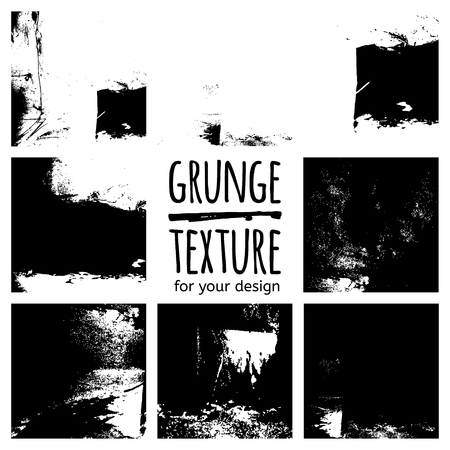 textures: Grunge black textures on white background. Vector set for your design Illustration