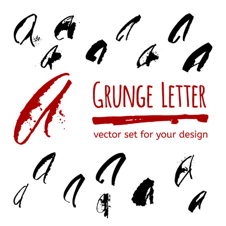 hand write: Expressive calligraphy ink letter with blots and splashes. Vector set for your design Illustration