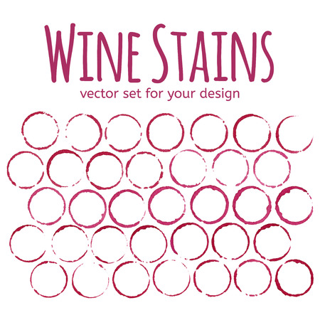 wine stains: Red wine stains on white background. Vector set for your design