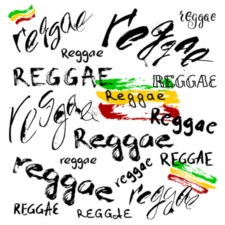 rasta colors: Modern lettering poster in reggae style. Vector isolated typography for your design. Illustration