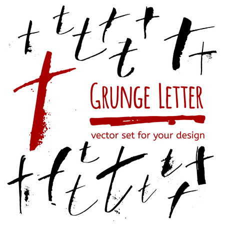 expressive: Expressive calligraphy ink letter with blots and splashes. Vector set for your design Illustration