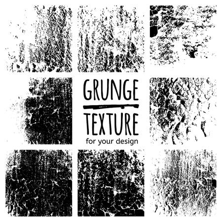 Grunge black textures on white background. Vector set for your design Ilustração