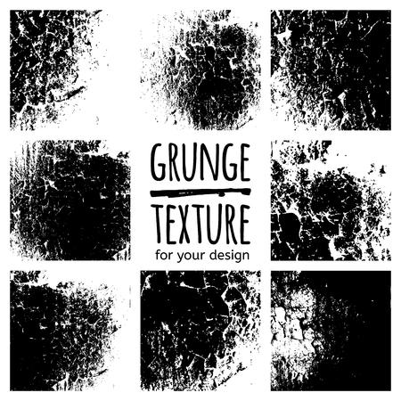 black textures: Grunge black textures on white background. Vector set for your design Illustration