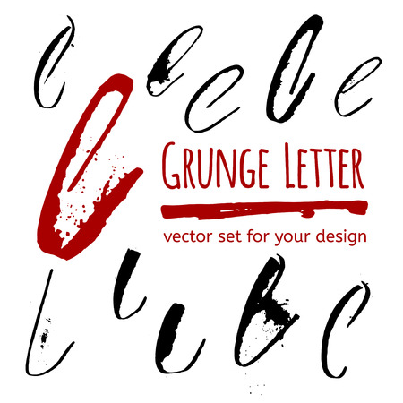 l hand: Expressive calligraphy ink letter with blots and splashes. Vector set for your design Illustration