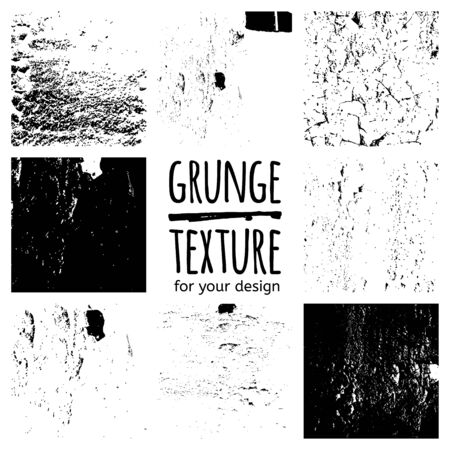 background textures: Grunge black textures on white background. Vector set for your design Illustration