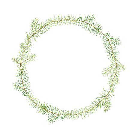 그린 수채화 안주 소나무 분기합니다. 신년 축하 카드 템플릿