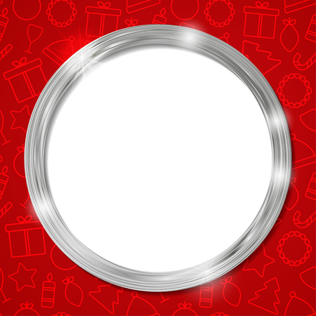 silver circle: Abstract glow silver circle frame. Christmas vector for your design Vettoriali
