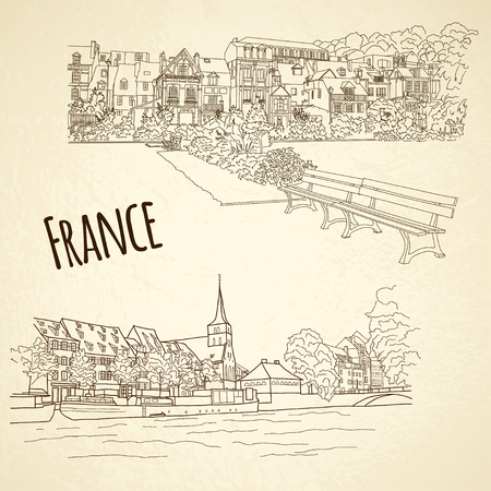 strasbourg: Set of vector city sketching on vintage background. Honfleur, Strasbourg, France Illustration