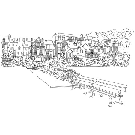 city background: Vector city sketching on white background. Honfleur, France