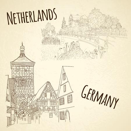 빈티지 도시에 스케치하는 벡터 도시의 집합입니다. 암스테르담, 네덜란드. 로텐부르크 오 데 타우 버, 독일 일러스트