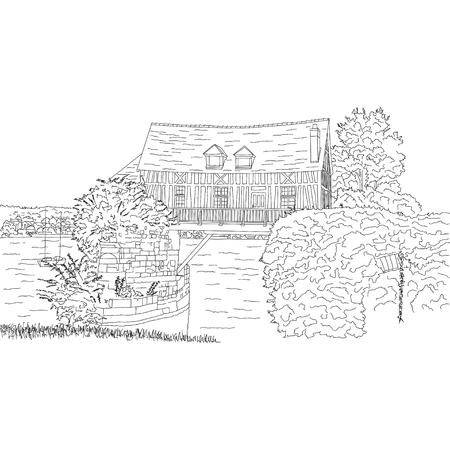 silhouette maison: Vector city sketching sur fond blanc. Vernon, France