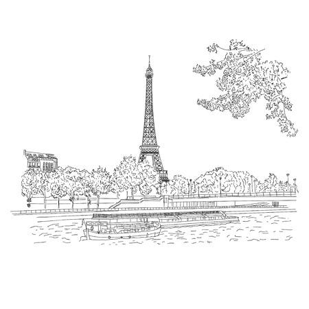 벡터 도시 흰색 배경에 스케치입니다. 파리, 프랑스