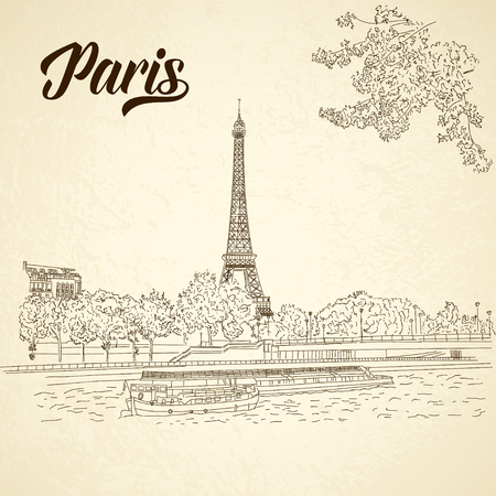Vector city sketching on vintage background. Paris, France
