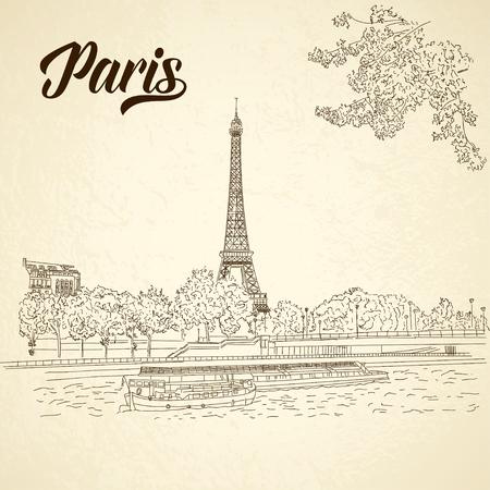 france: Vector city sketching on vintage background. Paris, France